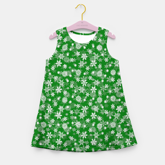 Miniatur Festive Green and White Christmas Holiday Snowflakes Girl's summer dress, Live Heroes