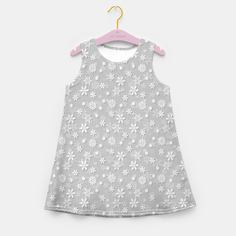Miniatur Festive Silver Grey and White Christmas Holiday Snowflakes Girl's summer dress, Live Heroes