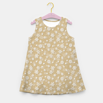 Miniatur Festive Gold and White Christmas Holiday Snowflakes Girl's summer dress, Live Heroes