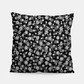 Miniatur Festive Black and White Christmas Holiday Snowflakes Pillow, Live Heroes