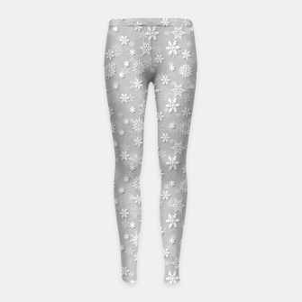 Miniatur Festive Silver Grey and White Christmas Holiday Snowflakes Girl's leggings, Live Heroes