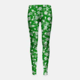 Miniatur Festive Green and White Christmas Holiday Snowflakes Girl's leggings, Live Heroes