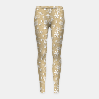 Miniatur Festive Gold and White Christmas Holiday Snowflakes Girl's leggings, Live Heroes