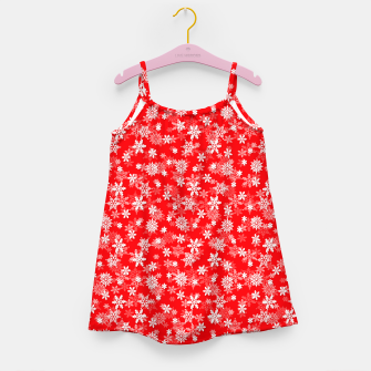 Miniatur Festive Red and White Christmas Holiday Snowflakes Girl's dress, Live Heroes