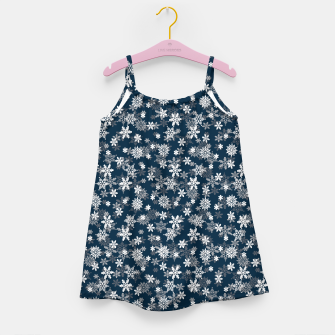 Miniatur Festive Midnight Blue and White Christmas Holiday Snowflakes Girl's dress, Live Heroes