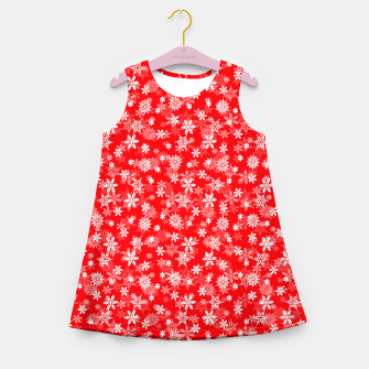 Miniatur Festive Red and White Christmas Holiday Snowflakes Girl's summer dress, Live Heroes