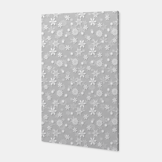 Miniatur Festive Silver Grey and White Christmas Holiday Snowflakes Canvas, Live Heroes