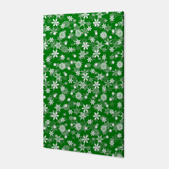 Miniatur Festive Green and White Christmas Holiday Snowflakes Canvas, Live Heroes