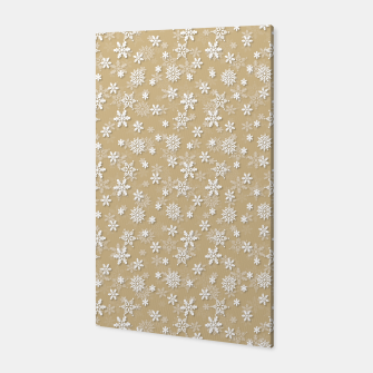 Miniatur Festive Gold and White Christmas Holiday Snowflakes Canvas, Live Heroes