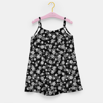 Miniatur Festive Black and White Christmas Holiday Snowflakes Girl's dress, Live Heroes