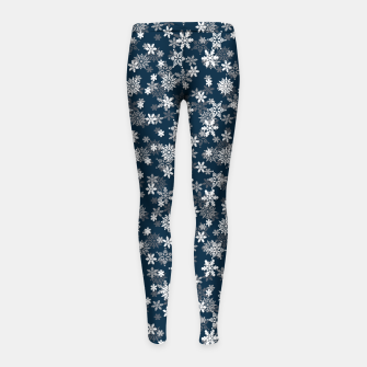 Thumbnail image of Festive Midnight Blue and White Christmas Holiday Snowflakes Girl's leggings, Live Heroes