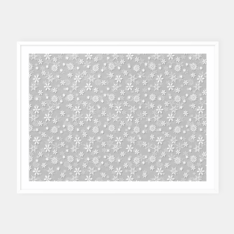 Thumbnail image of Festive Silver Grey and White Christmas Holiday Snowflakes Framed poster, Live Heroes