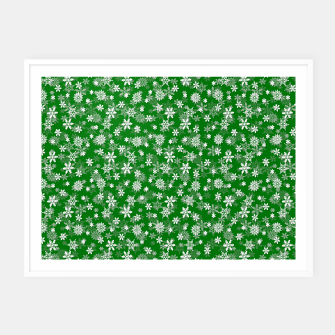 Thumbnail image of Festive Green and White Christmas Holiday Snowflakes Framed poster, Live Heroes