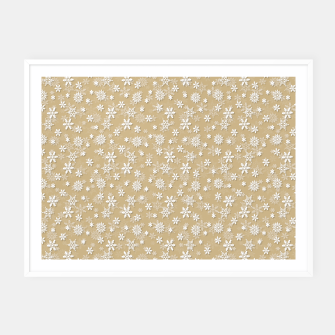 Thumbnail image of Festive Gold and White Christmas Holiday Snowflakes Framed poster, Live Heroes