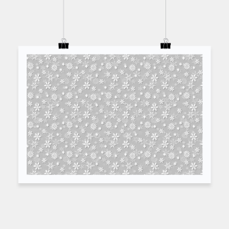 Thumbnail image of Festive Silver Grey and White Christmas Holiday Snowflakes Poster, Live Heroes