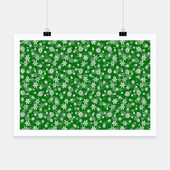 Thumbnail image of Festive Green and White Christmas Holiday Snowflakes Poster, Live Heroes