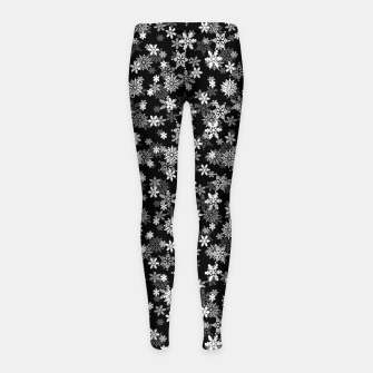 Thumbnail image of Festive Black and White Christmas Holiday Snowflakes Girl's leggings, Live Heroes