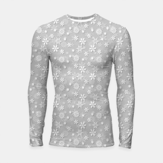 Thumbnail image of Festive Silver Grey and White Christmas Holiday Snowflakes Longsleeve rashguard , Live Heroes