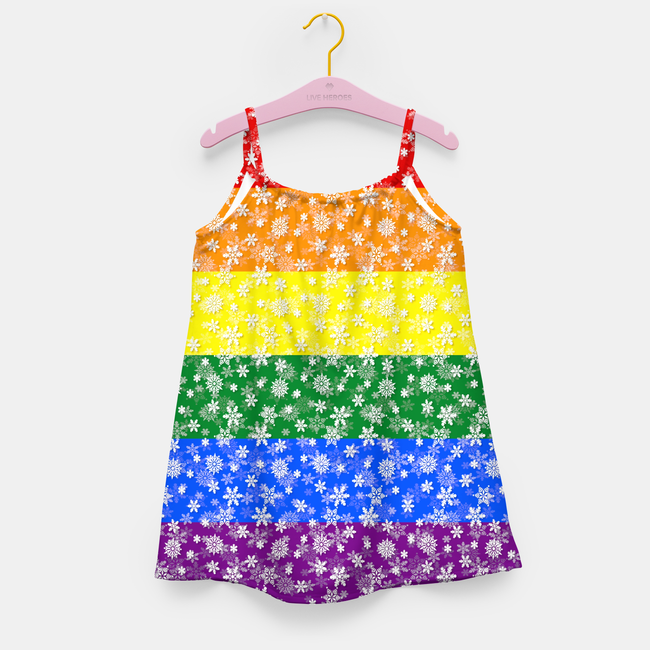 081459ea01 Christmas Pride Bright Festive Rainbow Snowflakes Girl s dress