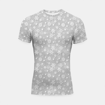 Thumbnail image of Festive Silver Grey and White Christmas Holiday Snowflakes Shortsleeve rashguard, Live Heroes