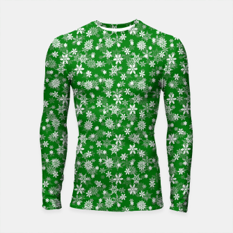 Thumbnail image of Festive Green and White Christmas Holiday Snowflakes Longsleeve rashguard , Live Heroes