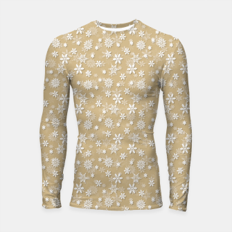 Thumbnail image of Festive Gold and White Christmas Holiday Snowflakes Longsleeve rashguard , Live Heroes