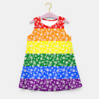 Thumbnail image of Christmas Pride Bright Festive Rainbow Snowflakes Girl's summer dress, Live Heroes