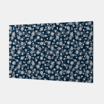 Thumbnail image of Festive Midnight Blue and White Christmas Holiday Snowflakes Canvas, Live Heroes