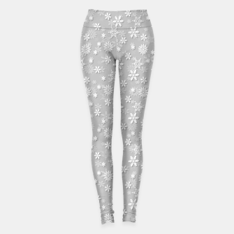 Thumbnail image of Festive Silver Grey and White Christmas Holiday Snowflakes Leggings, Live Heroes
