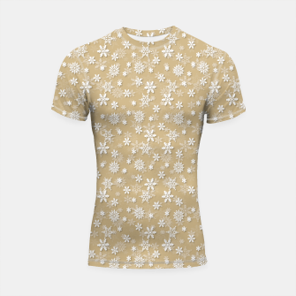 Thumbnail image of Festive Gold and White Christmas Holiday Snowflakes Shortsleeve rashguard, Live Heroes