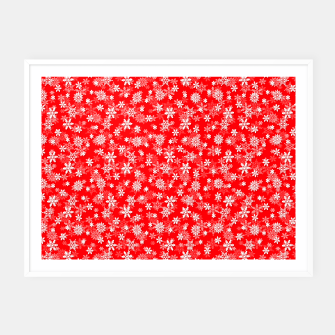 Thumbnail image of Festive Red and White Christmas Holiday Snowflakes Framed poster, Live Heroes