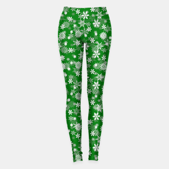 Thumbnail image of Festive Green and White Christmas Holiday Snowflakes Leggings, Live Heroes