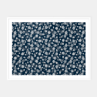 Thumbnail image of Festive Midnight Blue and White Christmas Holiday Snowflakes Framed poster, Live Heroes