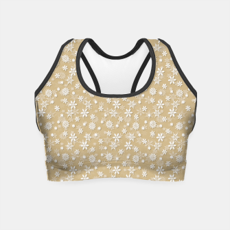 Thumbnail image of Festive Gold and White Christmas Holiday Snowflakes Crop Top, Live Heroes