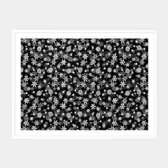 Thumbnail image of Festive Black and White Christmas Holiday Snowflakes Framed poster, Live Heroes