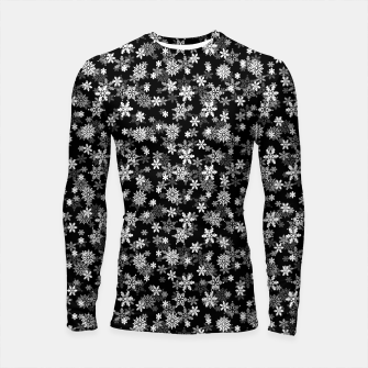 Thumbnail image of Festive Black and White Christmas Holiday Snowflakes Longsleeve rashguard , Live Heroes