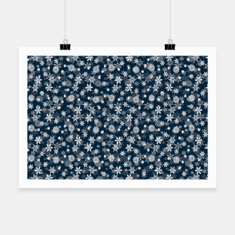 Thumbnail image of Festive Midnight Blue and White Christmas Holiday Snowflakes Poster, Live Heroes