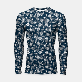 Thumbnail image of Festive Midnight Blue and White Christmas Holiday Snowflakes Longsleeve rashguard , Live Heroes