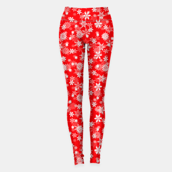Thumbnail image of Festive Red and White Christmas Holiday Snowflakes Leggings, Live Heroes