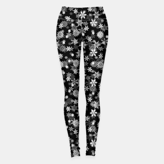 Thumbnail image of Festive Black and White Christmas Holiday Snowflakes Leggings, Live Heroes