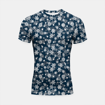 Thumbnail image of Festive Midnight Blue and White Christmas Holiday Snowflakes Shortsleeve rashguard, Live Heroes
