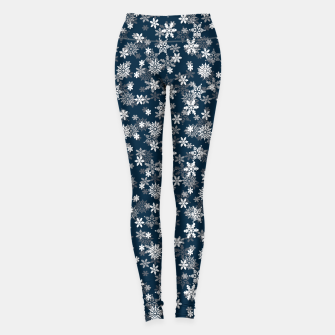 Thumbnail image of Festive Midnight Blue and White Christmas Holiday Snowflakes Leggings, Live Heroes