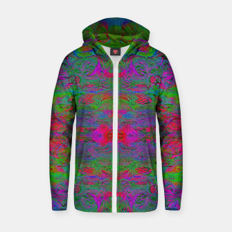 Thumbnail image of Hidden Clown's Playroom (abstract, psychedelic, trippy, fluorescent) Cotton zip up hoodie, Live Heroes