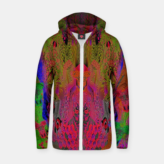 Sugar Skull and Girly Corks (Ultraviolet) (psychedelic, abstract, fluorescent) Cotton zip up hoodie thumbnail image