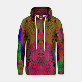 Sugar Skull and Girly Corks (Ultraviolet) (psychedelic, abstract, fluorescent) Cotton hoodie thumbnail image