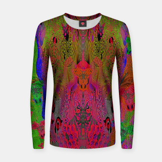 Sugar Skull and Girly Corks (Ultraviolet) (psychedelic, abstract, fluorescent) Woman cotton sweater thumbnail image
