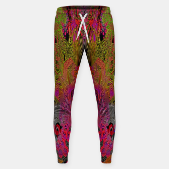 Sugar Skull and Girly Corks (Ultraviolet) (psychedelic, abstract, fluorescent) Cotton sweatpants thumbnail image