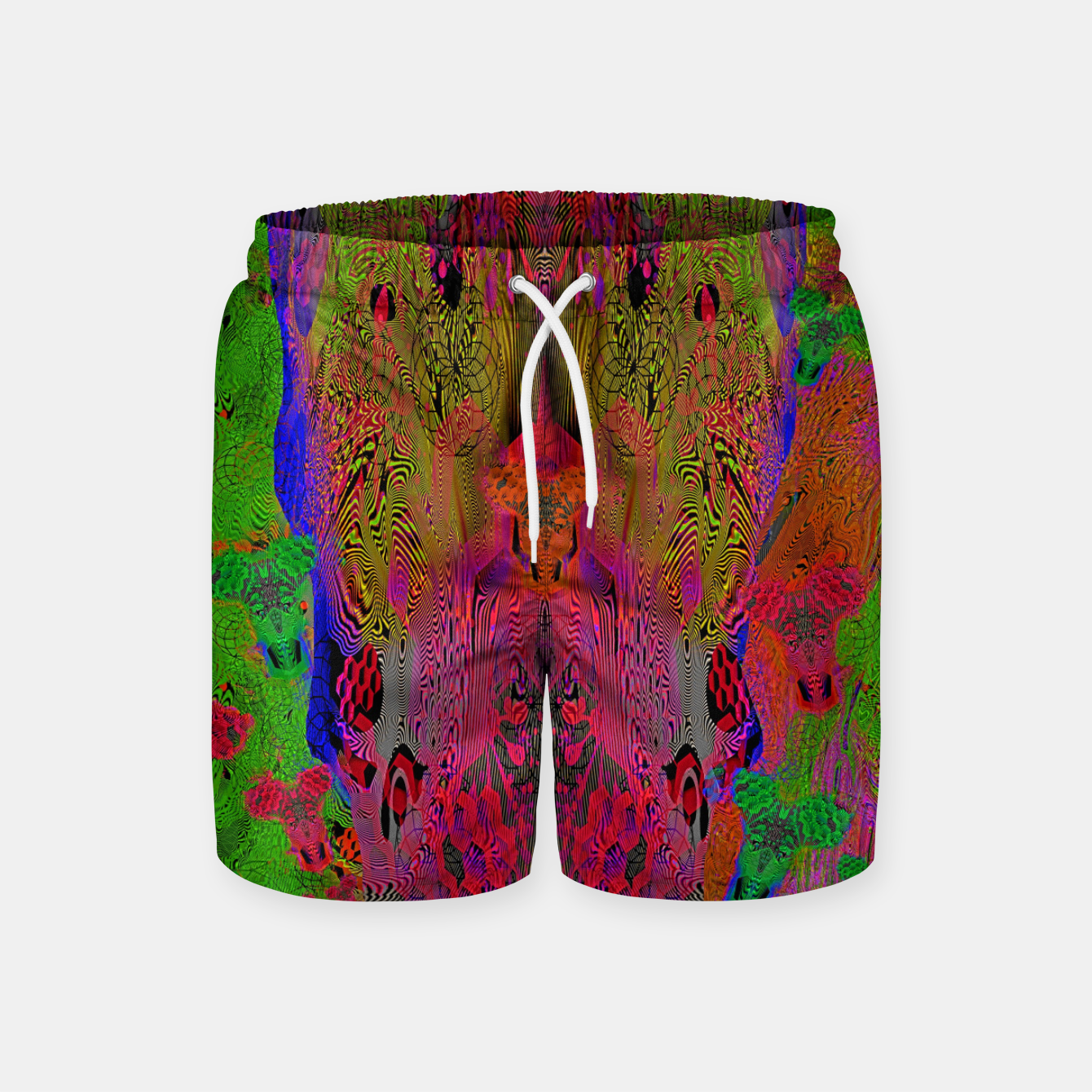 Image of Sugar Skull and Girly Corks (Ultraviolet) (psychedelic, abstract, fluorescent) Swim Shorts - Live Heroes