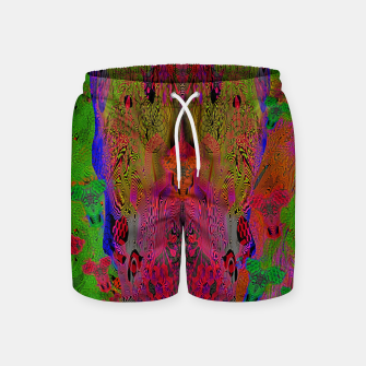 Thumbnail image of Sugar Skull and Girly Corks (Ultraviolet) (psychedelic, abstract, fluorescent) Swim Shorts, Live Heroes
