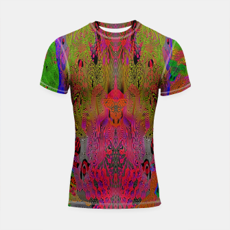 Sugar Skull and Girly Corks (Ultraviolet) (psychedelic, abstract, fluorescent) Shortsleeve rashguard thumbnail image